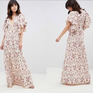 ASOS Floral Maxi Dress with Broderie Trim Size 8